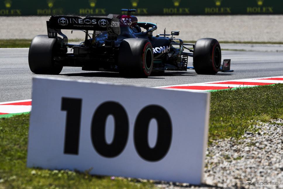 #44 ルイス・ハミルトン(メルセデス)が自身通算100回目のポールポジション獲得を今年のスペインGPで達成。《Photo by Pirelli》