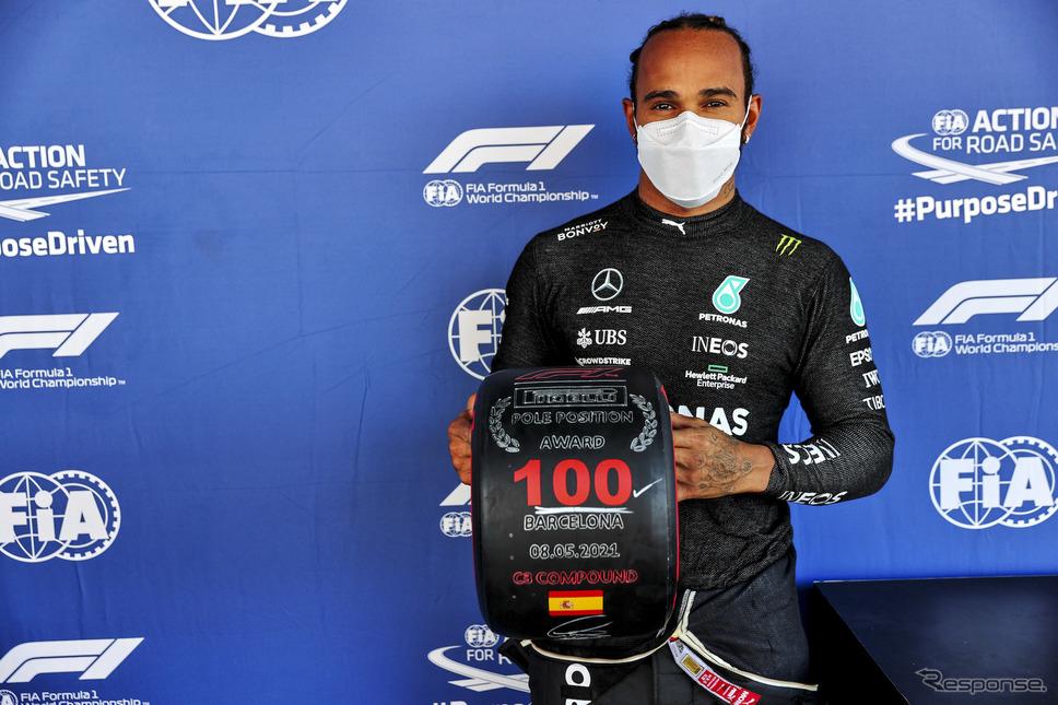 #44 ルイス・ハミルトン(メルセデス)が自身通算100回目のポールポジション獲得を今年のスペインGPで達成。《Photo by Mercedes-AMG F1》