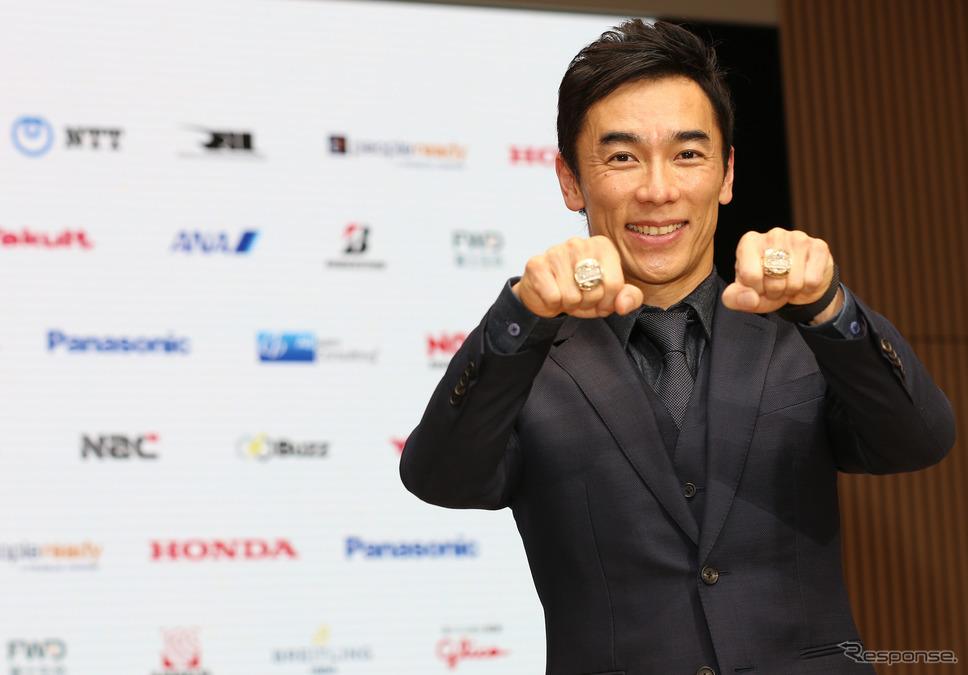 2017年と2020年、琢磨は既に2つの優勝リングをもっている(写真は2020年12月)。《Photo by Honda》