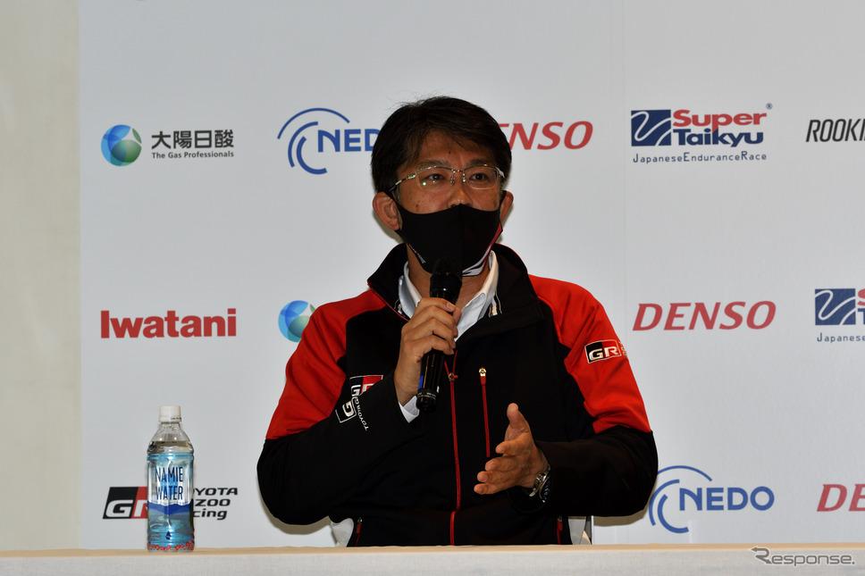 富士24時間レース:佐藤プレジデント(水素カローラ記者会見)《写真撮影 雪岡直樹》
