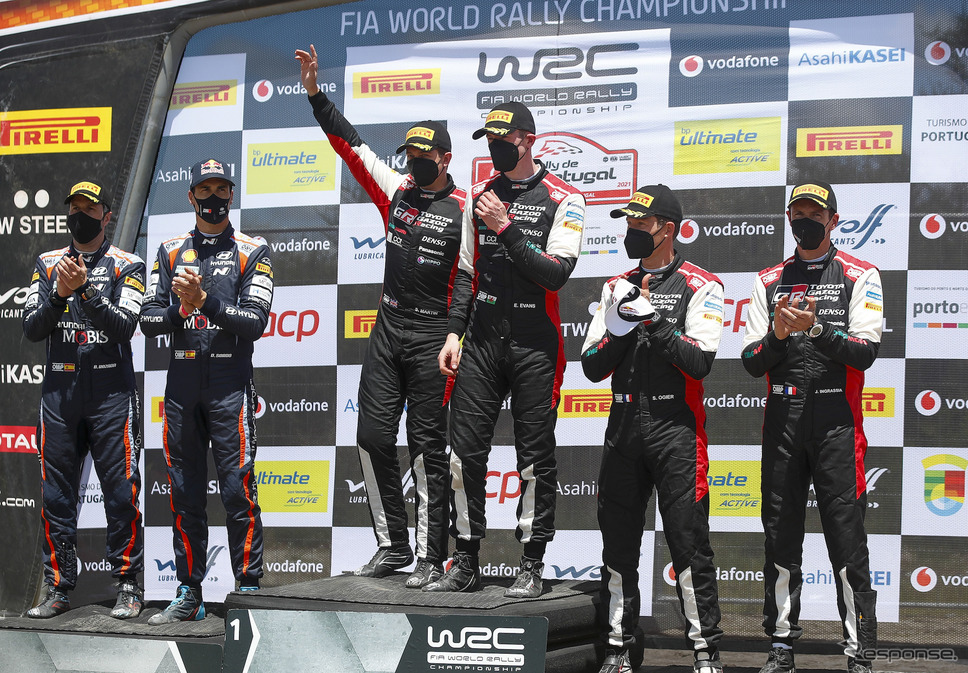WRC第4戦ポルトガルの表彰式。《Photo by TOYOTA》