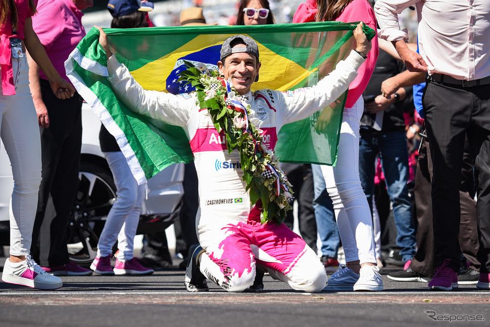 ブラジル出身のカストロネベス、同国の選手によるインディ500制覇は通算7回目とされる。《Photo by INDYCAR》