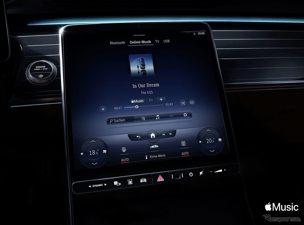 メルセデスベンツの新世代インフォテインメントシステム「MBUX」に組み込まれた「Apple Music」《photo by Mercedes-Benz》
