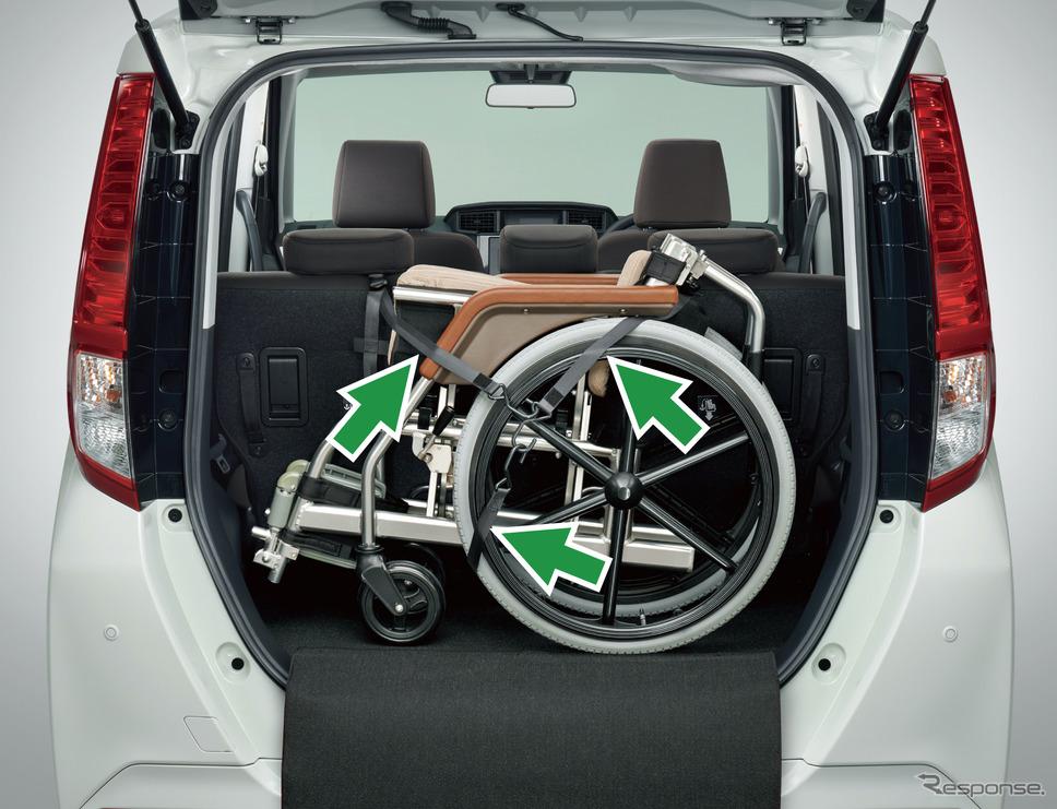 ダイハツ・トール・シートリフト:車いす固定装置(ガードマット付)《写真提供 ダイハツ工業》