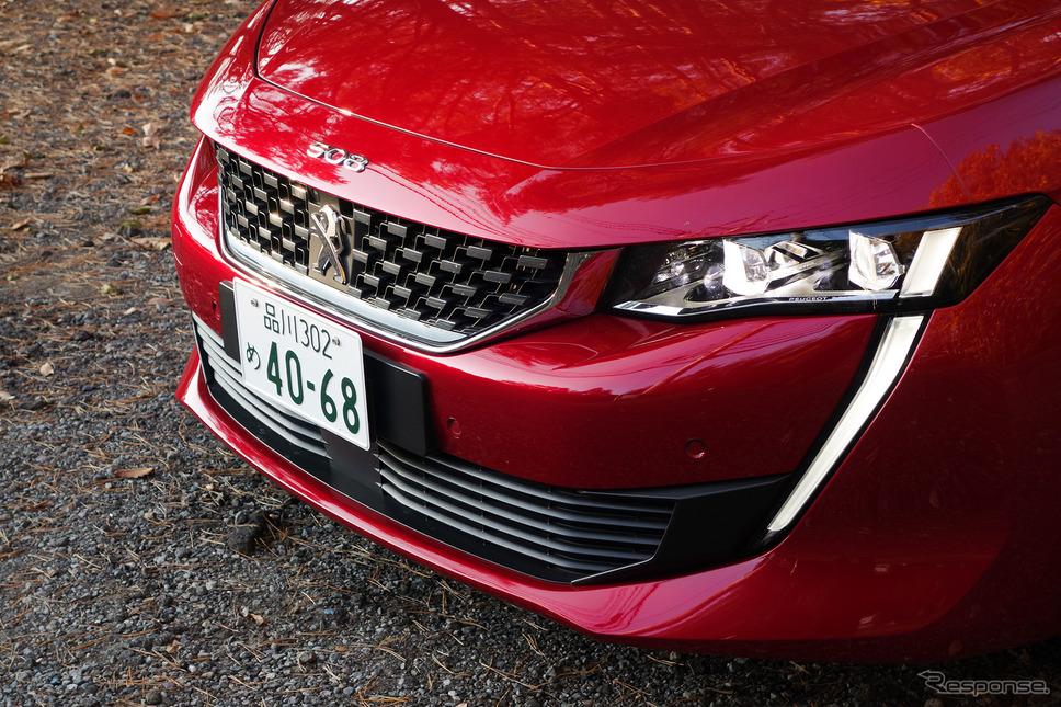 プジョー 508 GT BlueHDiのフロントマスク。デビルマンのような目じりの牙は今流行りのデザイン。《写真撮影 井元康一郎》