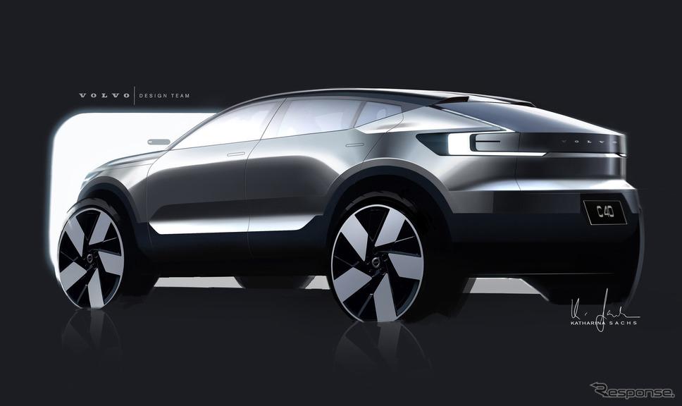ボルボ C40 リチャージ の外装デザインスケッチ《photo by Volvo Cars》