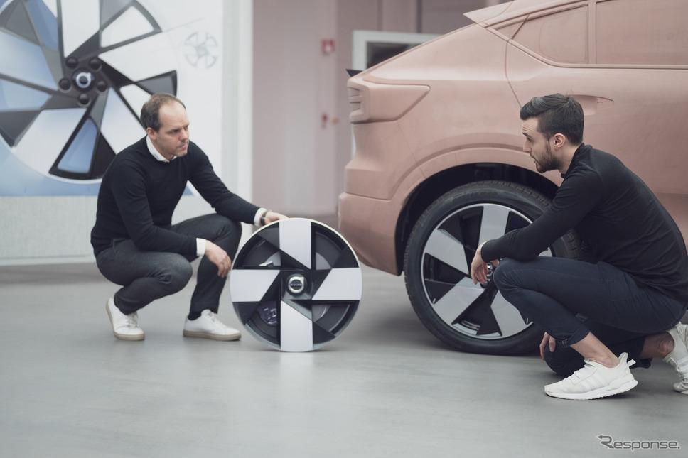 ボルボ C40 リチャージ のホイール。2018年のボルボ『360Cコンセプト』がモチーフ《photo by Volvo Cars》