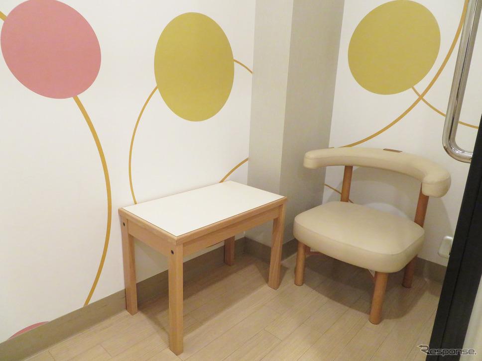 授乳用の個室の中は、椅子と小さなテーブル。個室は、商業施設によっては男性使用不可なので要注意。《写真撮影 岩貞るみこ》