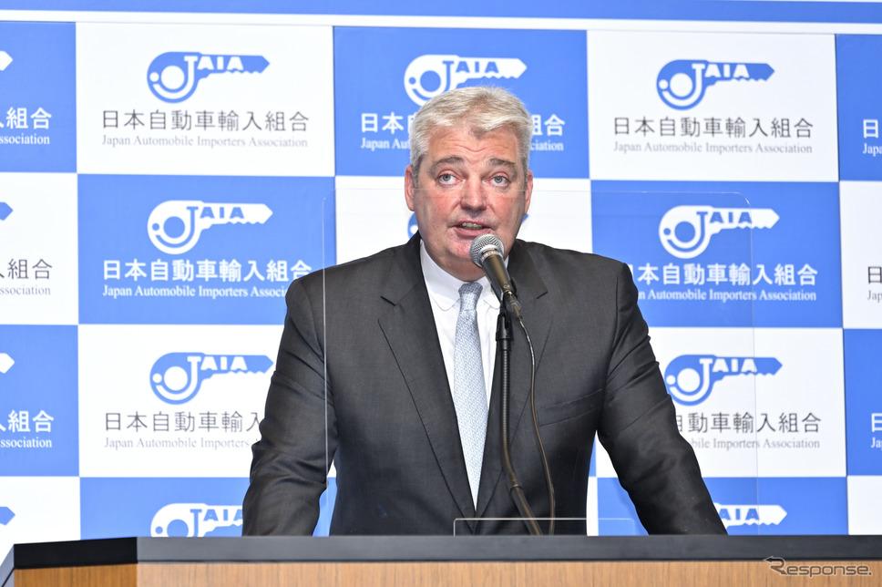 日本自動車輸入組合(JAIA)理事長であるティル シェア氏《写真撮影 雪岡直樹》