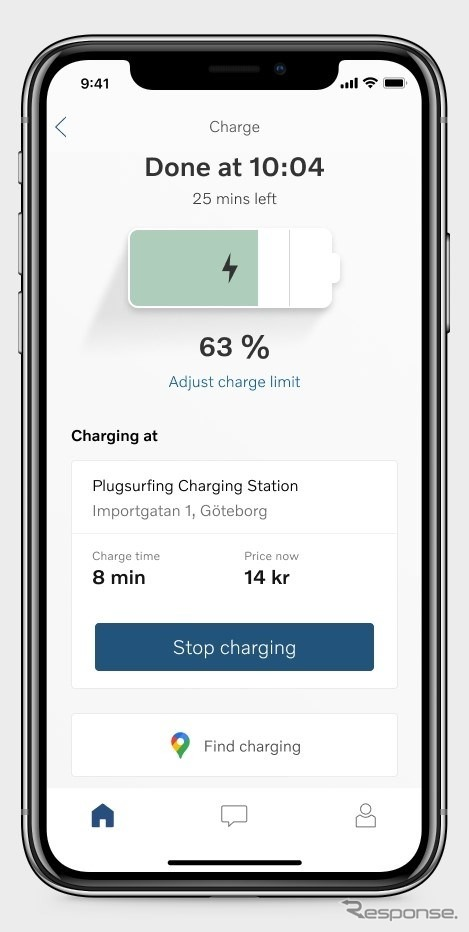 ボルボカーズのEVユーザーの充電を支援する「Volvo Carsアプリ」《photo by Volvo Cars》
