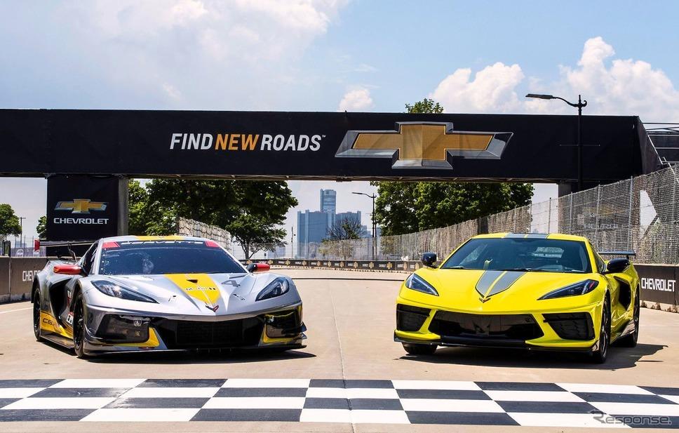 シボレー・コルベット の2022年モデル「IMSA GTLMチャンピオンシップエディション」(右)《photo by Chevrolet》