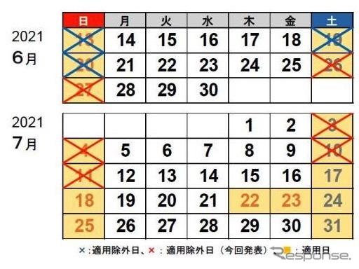 2021年7月11日までの休日割引適用日《画像提供 NEXCO中日本》