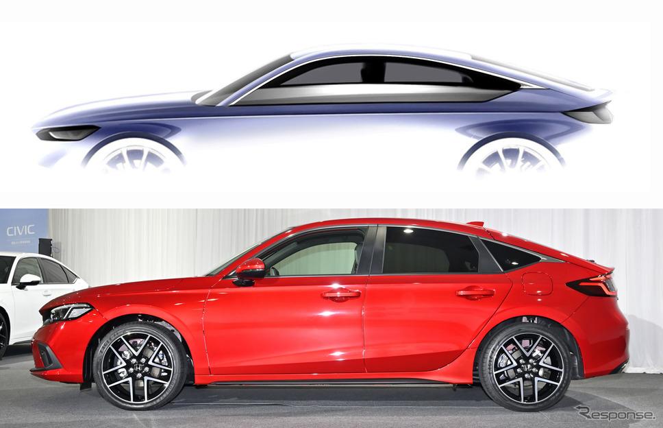 ホンダ シビック 新型のエクステリアデザインスケッチ(上)と実車のサイドビュー《写真撮影 雪岡直樹》