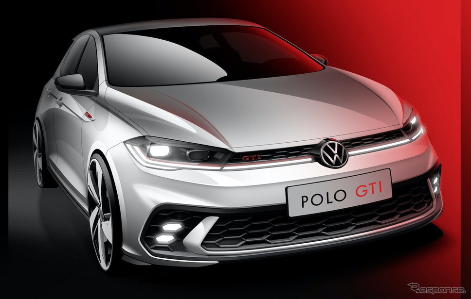 VW ポロ GTI 改良新型のティザースケッチ《photo by Volkswagen》