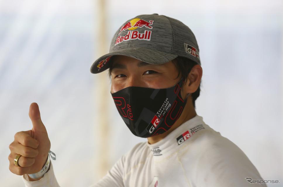 WRC第6戦サファリで、自身初表彰台となる総合2位でゴールした#18 勝田貴元(写真は現地25日)。《Photo by TOYOTA》