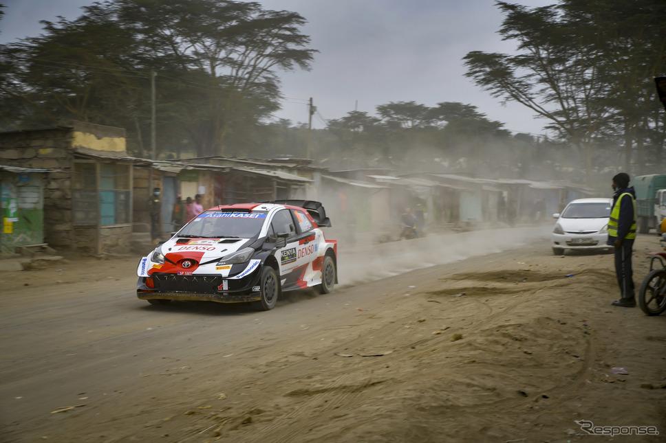 WRC第6戦サファリで、自身初表彰台となる総合2位でゴールした#18 勝田貴元(写真は現地27日)。《Photo by TOYOTA》