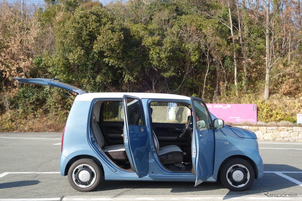 ホンダ N-WGN L Honda SENSINGのサイドビュー。室内への乗り降りのしやすさは軽トールワゴンの中で最も優れているように感じられた。《写真撮影 井元康一郎》