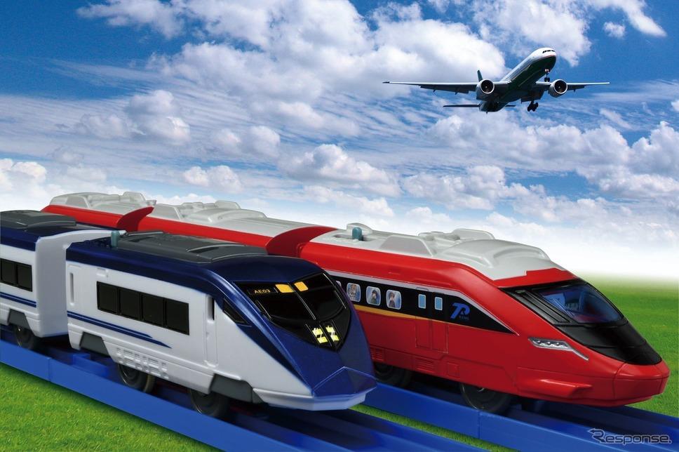 プラレール:京成スカイライナー(向かって左)とスピードジェット《写真提供 京成電鉄》