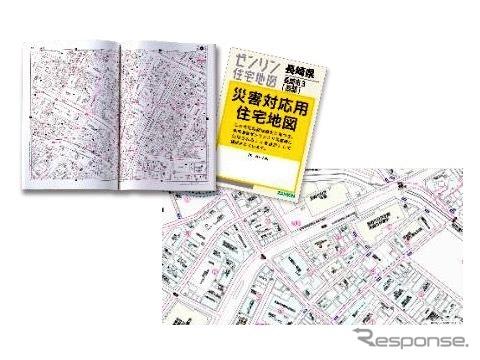災害対応用住宅地図(左上)とデジタル地図(イメージ)《画像提供 ゼンリン》