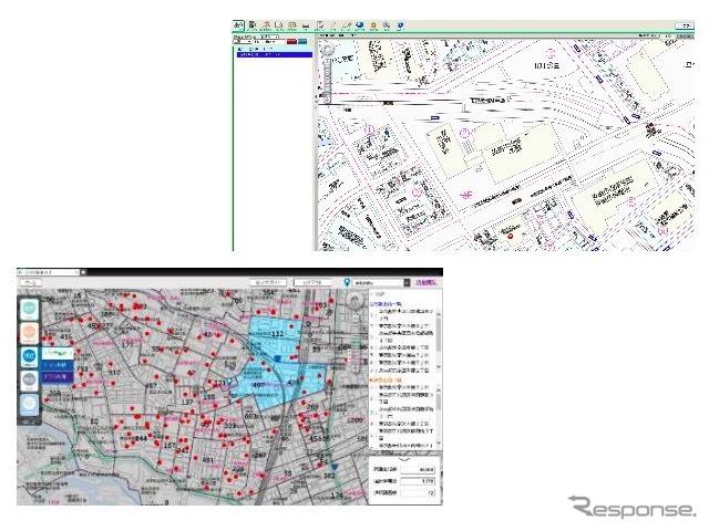 簡単に素早く場所特定が可?な「住宅地図 for Web」(右上)、中小個店の?促活動を支援する「らくらく?促マップ」《画像提供 ゼンリン》