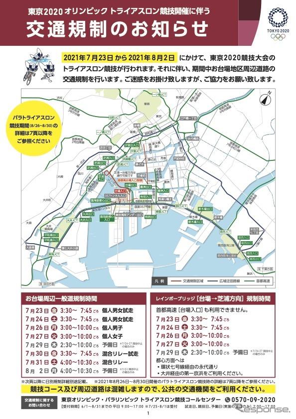 東京2020オリンピック大会トライアスロン競技開催に伴う交通規制《資料提供 東京オリンピック・パラリンピック競技大会組織委員会》