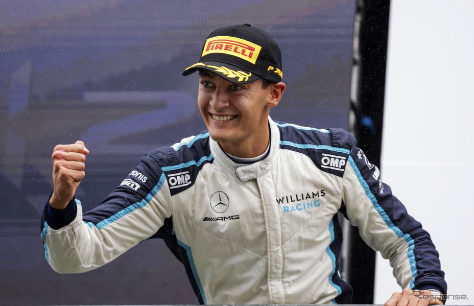 2021年ベルギーGPで2位となった、現ウィリアムズのジョージ・ラッセル。《Photo by Pirelli》