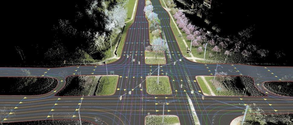 ヒアテクノロジーズのデジタル地図「HDライブマップ」《photo by HERE Technologies》