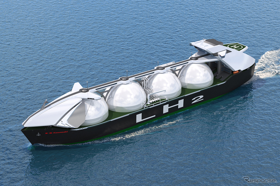 数年後に導入を計画している液化水素大型運搬船イメージ《写真提供 川崎重工》