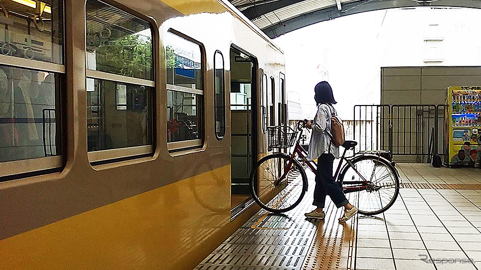 西武多摩川線サイクルトレイン(武蔵堺駅デモ)《写真撮影 大野雅人》