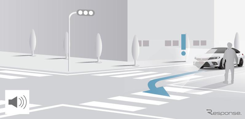 ホンダセンシング360 被害軽減ブレーキ(交差点歩行者)《画像提供 ホンダ》