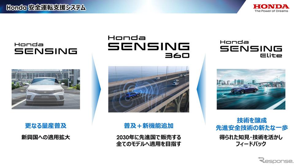 従来の「Honda SENSING」を新興国で普及を図ると共に、「Honda SENSING Elite」で培った知見をフィードバック。「Honda SENSING360」はその集大成として先進国で展開していく《画像提供 ホンダ》